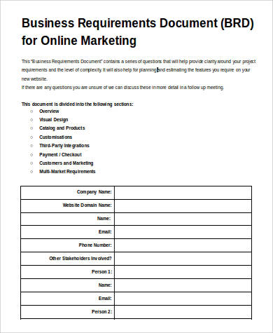 Business Requirement Sample Document - 9+ Examples in Word - business requirements document template