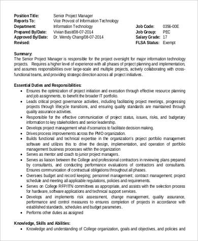 Sample IT Project Manager Job Description - 9+ Examples in Word, PDF - it project manager job description