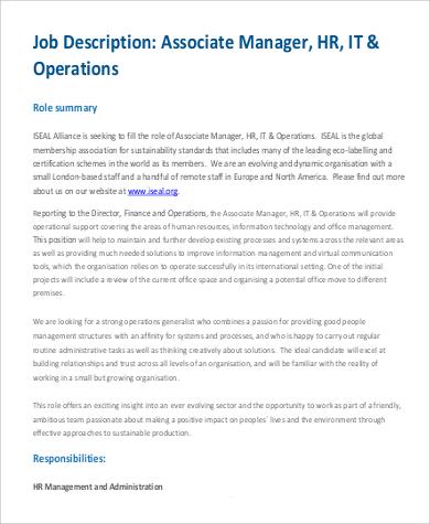 Human Resources Director Job Description Resources Associate - hr director job description