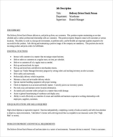 9+ Delivery Driver Job Description Samples Sample Templates