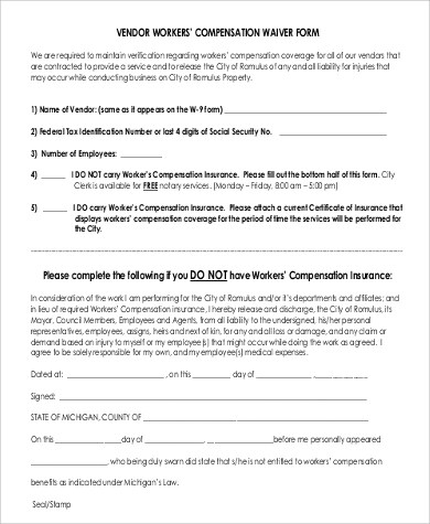 9+ Sample Workers Compensation Forms Sample Templates