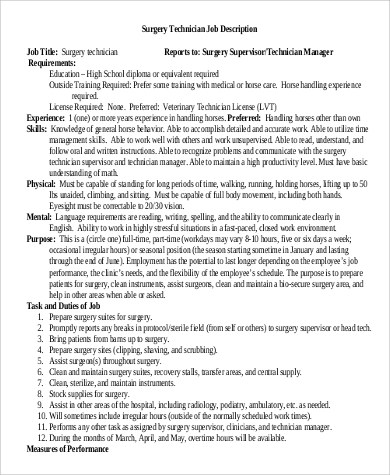 8+ Surgical Tech Job Description Samples Sample Templates