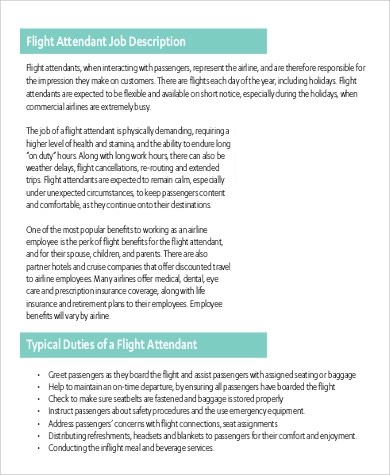Flight Attendant Job Description cvfreepro