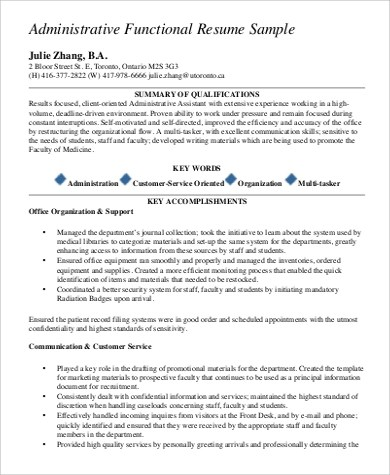 9+ Functional Resume Examples Sample Templates - examples of a functional resume