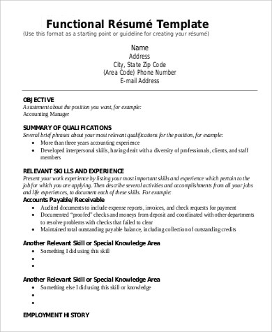 Examples Of A Functional Resume Functional Resume Format 2017 - functional cv template