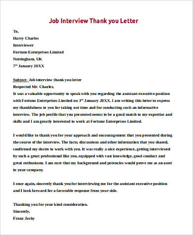 9+ Sample Job Interview Thank You Letters Sample Templates - thank you for the opportunity to interview
