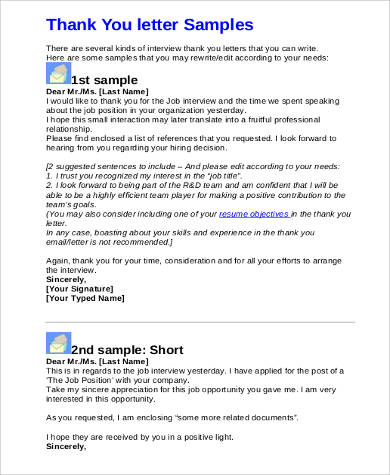 Sample Job Interview Thank You Letter - 9+ Examples in PDF, Word
