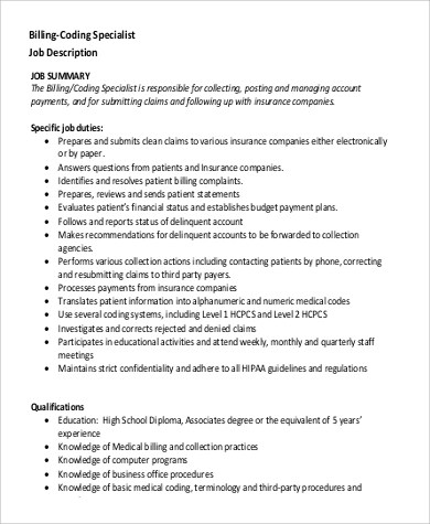 9+ Medical Billing and Coding Job Description Samples Sample Templates