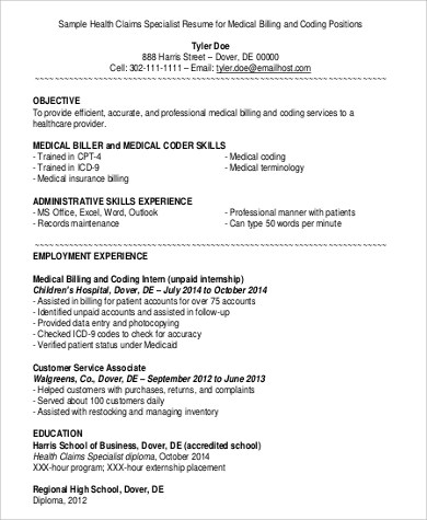 9+ Medical Billing and Coding Job Description Samples Sample Templates - Medical Billing And Coding Specialist Sample Resume