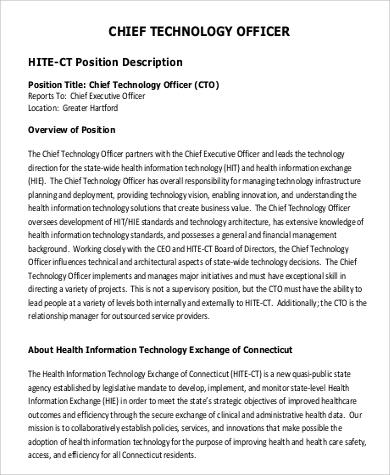 9+ CTO Job Description Samples Sample Templates - cto job description