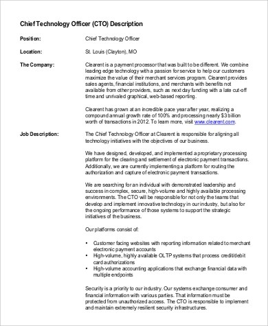 Superior Chief Strategy Officer Job Description Chief Financial Officer