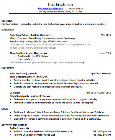 8+ College Resume Samples Sample Templates - college freshman resume sample