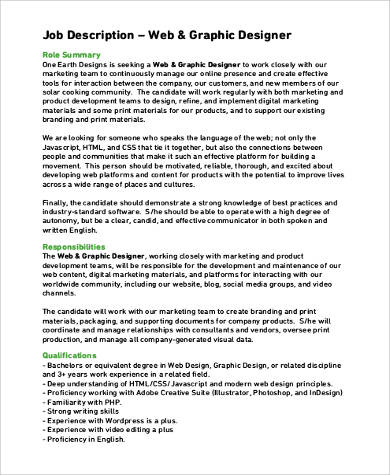 9+ Graphic Design Job Description Samples Sample Templates - web designer job description