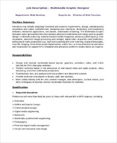 Sample Graphic Design Job Description - 9+ Examples in PDF, Word - photographer job description