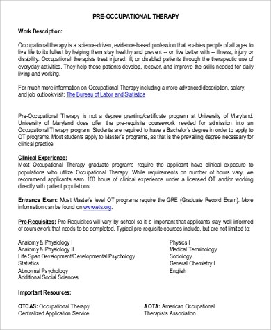 9+ Occupational Therapy Job Description Samples Sample Templates - occupational therapist job description