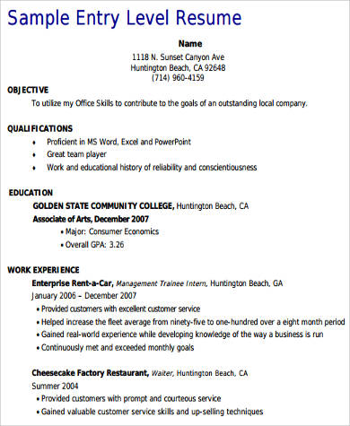 8+ Sample Customer Service Resumes Sample Templates - entry level customer service resume sample
