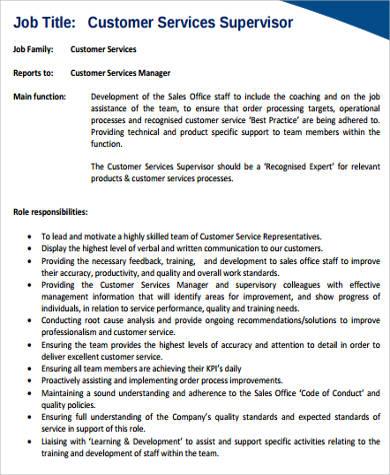 8+ Sample Customer Service Resumes Sample Templates - customer service supervisor resume
