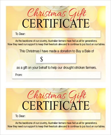 9+ Sample Printable Gift Certificates Sample Templates - printable christmas gift certificate