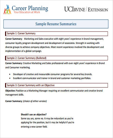 8+ Career Summary Examples Sample Templates - resume career overview example
