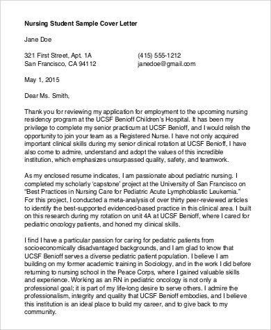 Cover Letter Example for Student - 7+ Samples in PDF