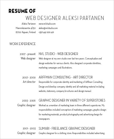 Designer Resume Sample - 6+ Examples in Word, PDF - web design resume example