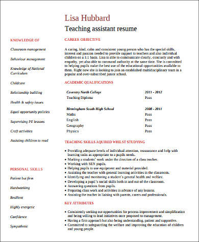 8+ Sample Teacher Assistant Resumes Sample Templates - teaching assistant resume