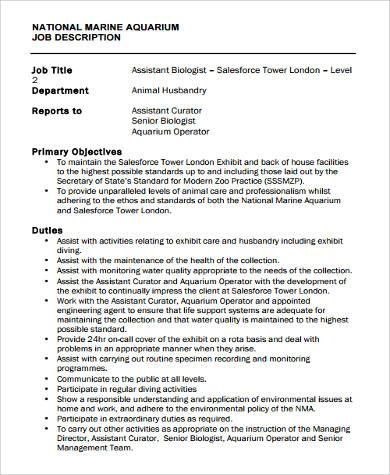 9+ Marine Biologist Job Description Samples Sample Templates - aquarium worker sample resume