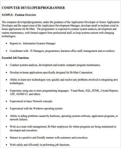 Sample Computer Programmer Job Descriptions - 11+ Examples in Word - system programmer job description