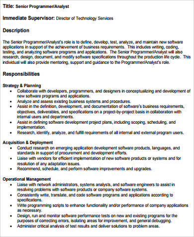 program analyst job description - Ozilalmanoof - senior programmer job description