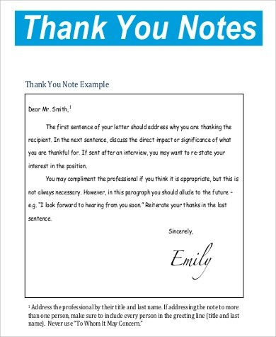 Sample Printable Thank You Note - 9+ Examples in Word, PDF