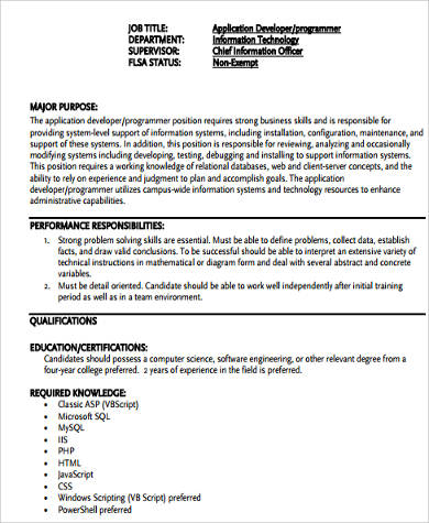Sql Programmer Job Description Surprising Ideas Sql Developer - system programmer job description