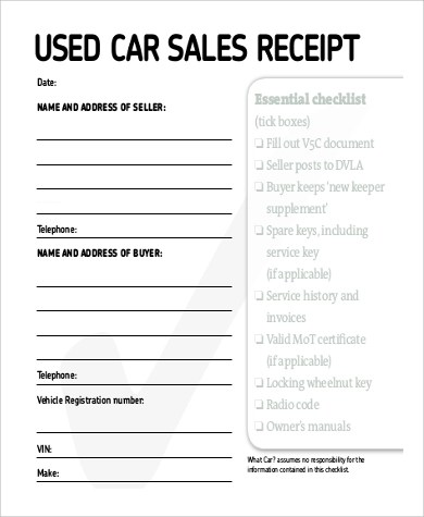 Sales receipt Sample - 9+ Examples in Word, PDF
