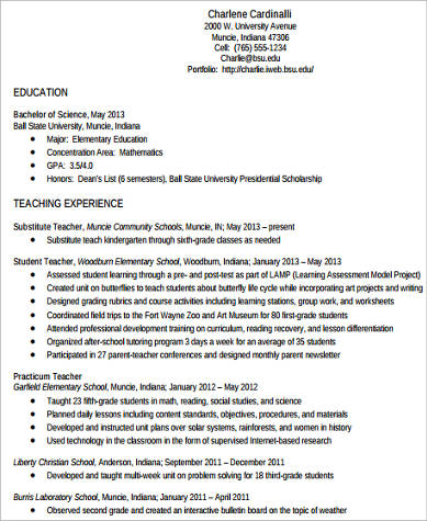 8+ Teacher Resume Examples Sample Templates - high school teacher resume