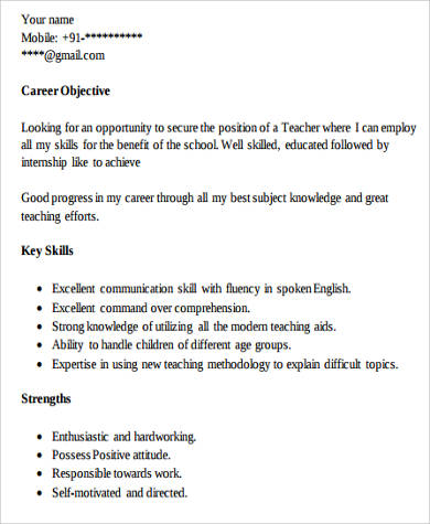 8+ Teacher Resume Examples Sample Templates