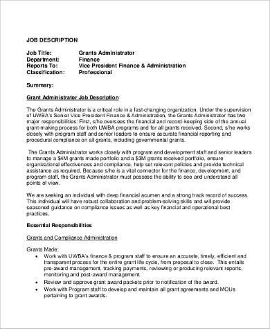 9+ Administrator Job Description Samples Sample Templates - administrator job description