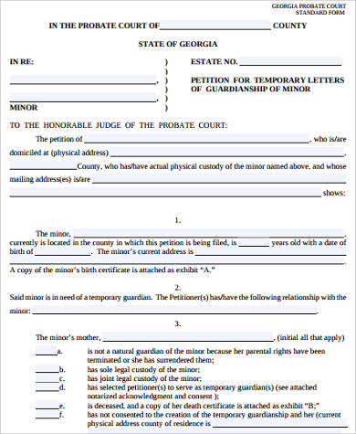 legal form tutornowinfo - temporary guardianship form