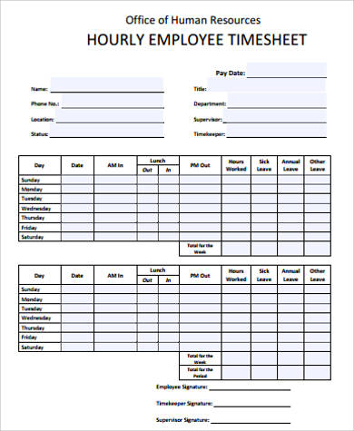 Sample Employee Timesheet - 10+ Examples in Word, PDF