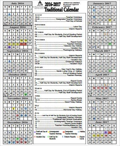 9+ Sample School Calendars Sample Templates - sample school calendar