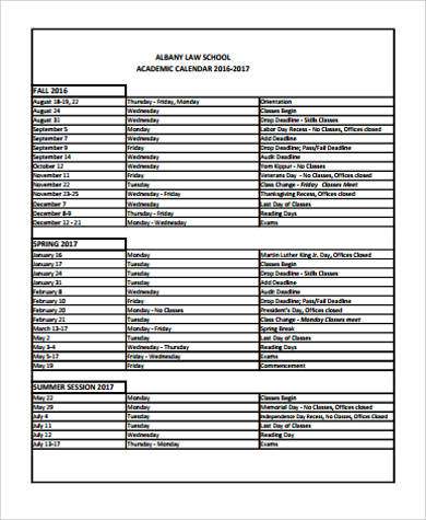 9+ Sample School Calendars Sample Templates