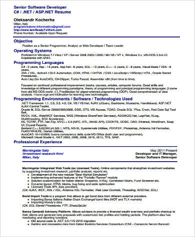 9+ Sample Software Developer Resumes Sample Templates - senior software developer resume