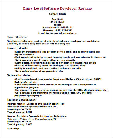 Sample Software Developer Resume - 9+ Examples in Word, PDF - software development resume