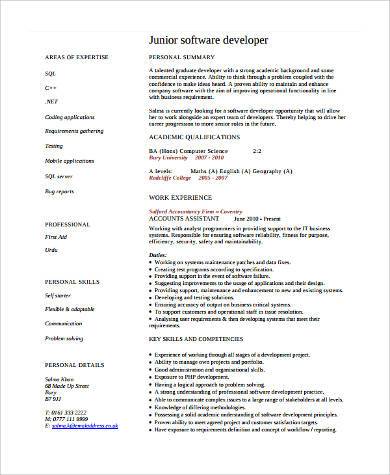 Sample Software Developer Resume - 9+ Examples in Word, PDF
