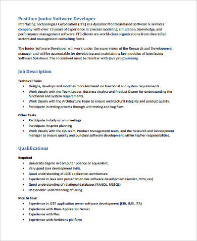 Sample Software Developer Resume - 9+ Examples in Word, PDF - software developer job description