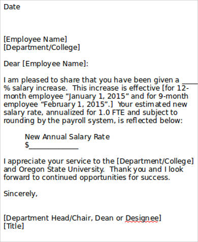 Sample Letter Template in Word - 10+ Examples in Word, PDF - how to write salary increment letter