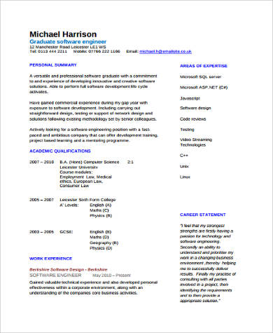 Sample Software Developer Resume - 9+ Examples in Word, PDF - software engineering resume