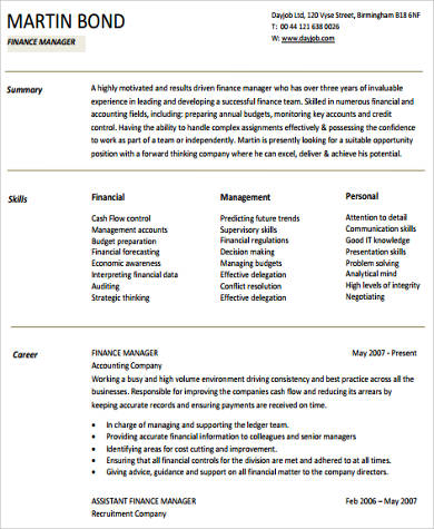 11+ Sample Finance Resumes Sample Templates - finance manager resume