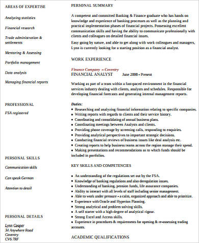 11+ Sample Finance Resumes Sample Templates - financial assistant resume