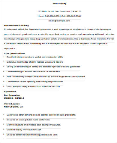 8+ Sample Supervisor Resumes Sample Templates