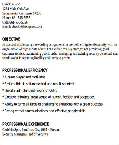 9+ Sample Security Resumes Sample Templates - nightclub security resume