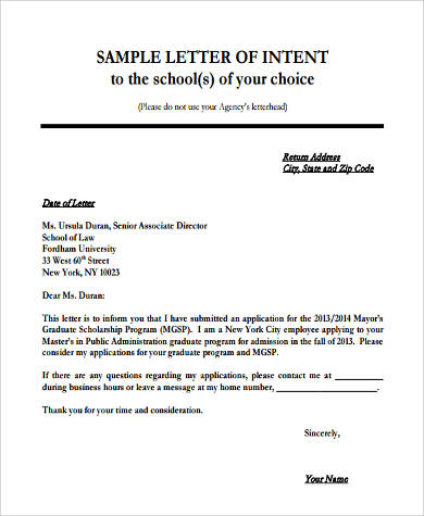 9+ Letter of Intent Format Samples Sample Templates